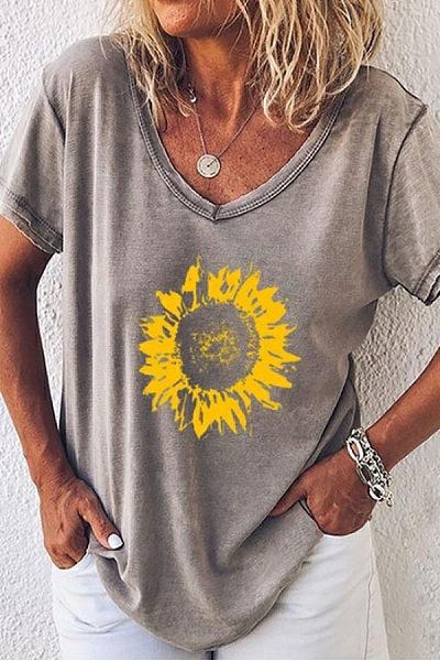 Sunflower V Neck T-Shirts