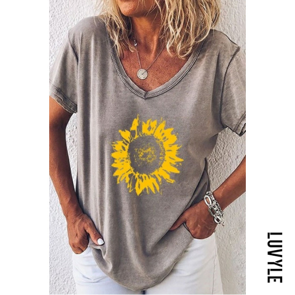 Gray Sunflower V Neck T-Shirts Gray Sunflower V Neck T-Shirts