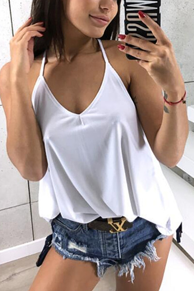 Spaghetti Strap  Loose Fitting  Plain Camis