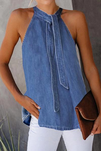Casual Lace-Up Denim Camis