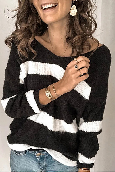 Women's Casual V-Neck Striped Sweater