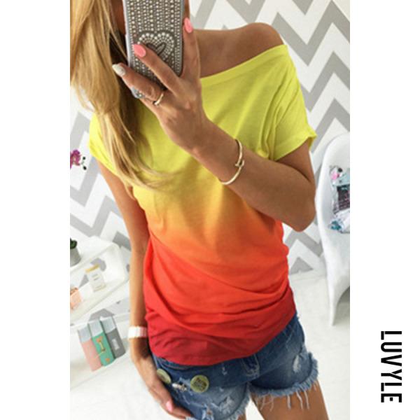 Orange One Shoulder Gradient T-Shirts Orange One Shoulder Gradient T-Shirts