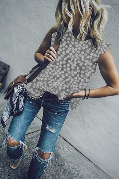 Round Neck  Beading  Printed  Blouses