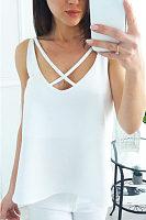 Round Neck  Asymmetric Hem Lace Up  Plain  Vests