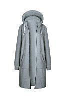 Hooded  Drawstring Slit Pocket Zipper  Patchwork Trench Coat