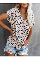 Casual V-Neck Polka Dot T-Shirt