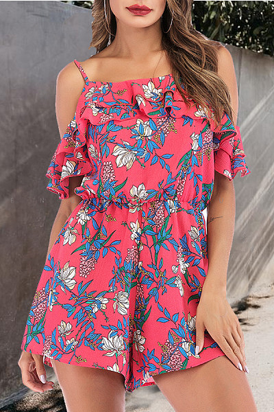 Spaghetti Strap  Printed  Short Sleeve  Playsuits