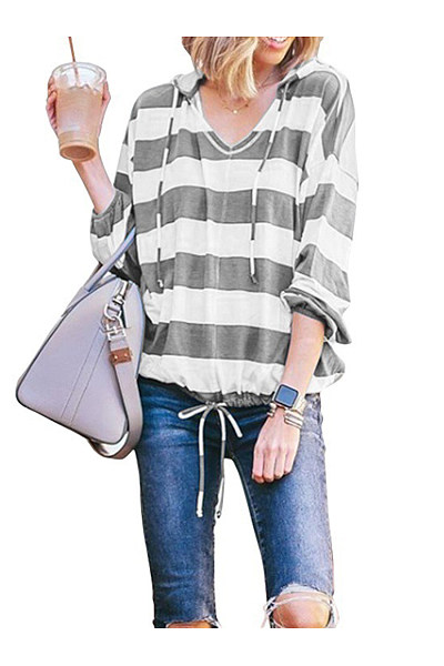 Striped Hooded Long Sleeve T-Shirts