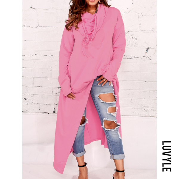 Pink Hooded Asymmetric Hem Plain Hoodies Pink Hooded Asymmetric Hem Plain Hoodies
