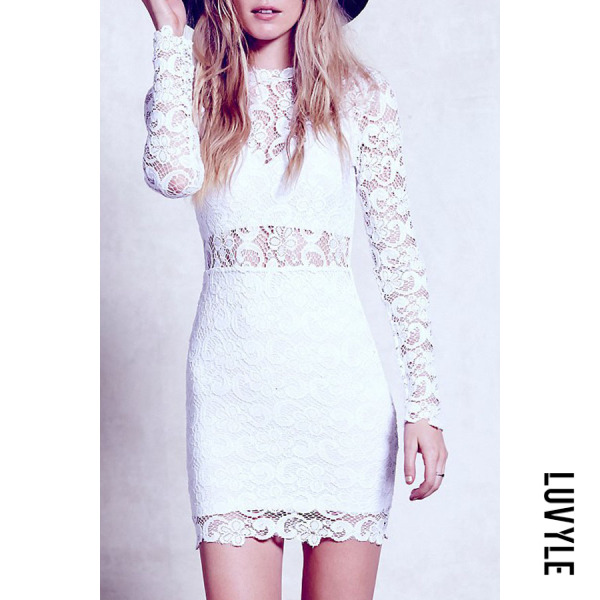 White Round Neck Hollow Out Lace Bodycon Dresses White Round Neck Hollow Out Lace Bodycon Dresses