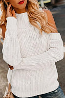 Shoulder Collar Long Sleeve Plain Sweater