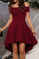 Off Shoulder  Plain  Short Sleeve Skater Dresses