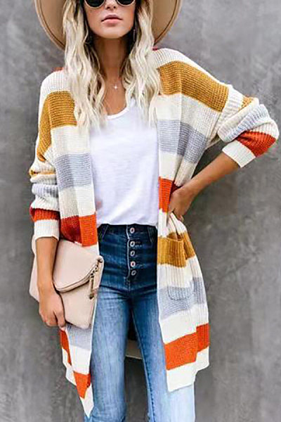 Fashion Striped Loose Long-Sleeved Sweater