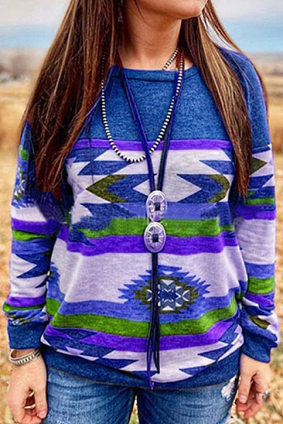 Women's Casual Loose Round Neck Print Long Sleeve Sweatshirt
