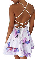 Halter Lace Up Floral Skater Dresses