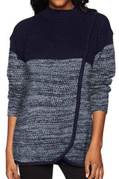 High Neck  Color Block Sweaters