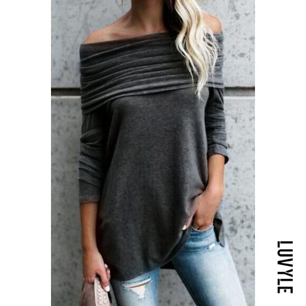 Black Off Shoulder Asymmetric Hem Plain T-Shirts Black Off Shoulder Asymmetric Hem Plain T-Shirts