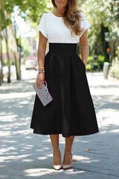 Midi Basic  Plain Skirts