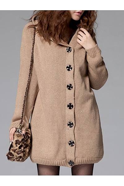 Hooded Single Breasted Fleece Lined Coat