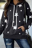Star Printed Long Sleeve Loose Hoody
