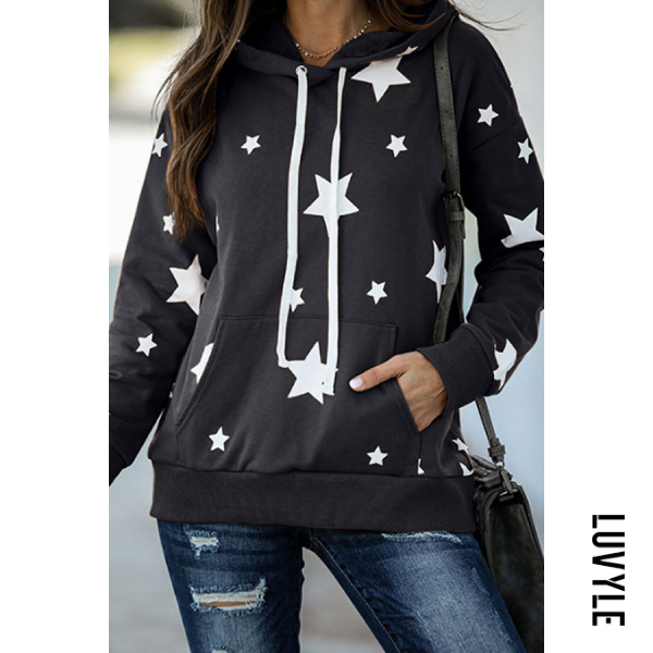 Dark Grey Star Printed Long Sleeve Loose Hoody Dark Grey Star Printed Long Sleeve Loose Hoody