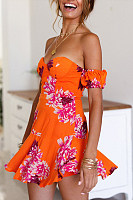 Off Shoulder  Backless  Printed  Extra Short Sleeve Skater Dresses