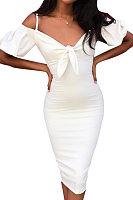Spaghetti Strap  Bowknot  Plain  Puff Sleeve  Short Sleeve Bodycon Dresses