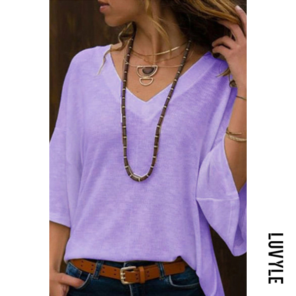 Purple Deep V Neck Bell Sleeve T-Shirts Purple Deep V Neck Bell Sleeve T-Shirts