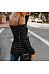 Fashion Off Shoulder Stripes Long Sleeve T-Shirts