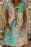 V Neck Short Sleeve Leaves Casual Dress