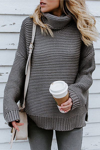 High Collar Plain Sweater