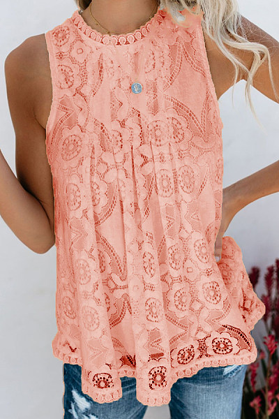 Round Neck  Decorative Lace  Lace  Blouses