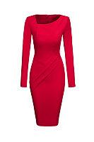Asymmetric Neck Plain Split Bodycon Dress
