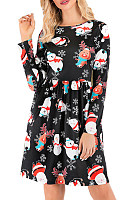 Christmas Printed Long Sleeve Casual Dress