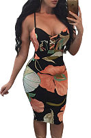 Spaghetti Strap  Backless  Floral Printed Bodycon Dresses