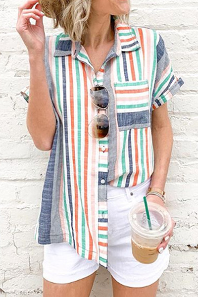 Turn Down Collar  Single Breasted  Stripes  Blouses