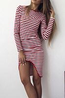 Crew Neck  Asymmetric Hem  Striped  Long Sleeve Bodycon Dresses