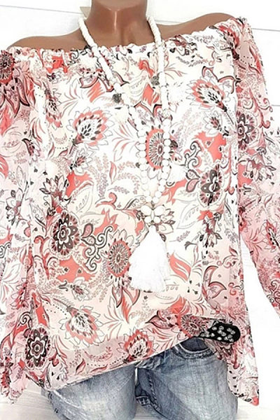 Word Collar Floral Long Sleeve Casual Blouse