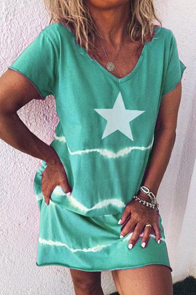 Star V Neck Short Sleeve Casual Dress