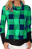 High Neck  Asymmetric Hem  Gingham T-Shirts