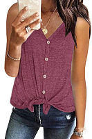 V-Neck Sleeveless Cardigan T-Shirt