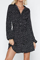 V Neck  Dot  Long Sleeve Casual Dresses