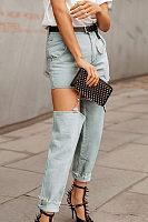 Long Broken Holes  Plain Jeans