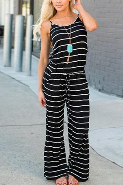 Spaghetti Strap  Striped  Sleeveless Jumpsuits