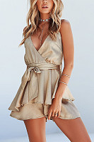 Deep V Neck  Belt  Plain  Sleeveless  Playsuits