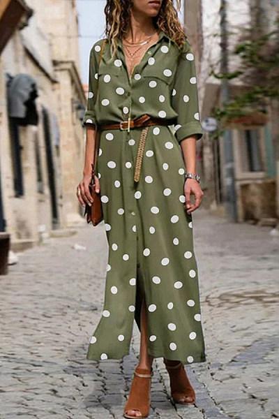 A Lapel Long Sleeve Polka Dot Maxi Dress