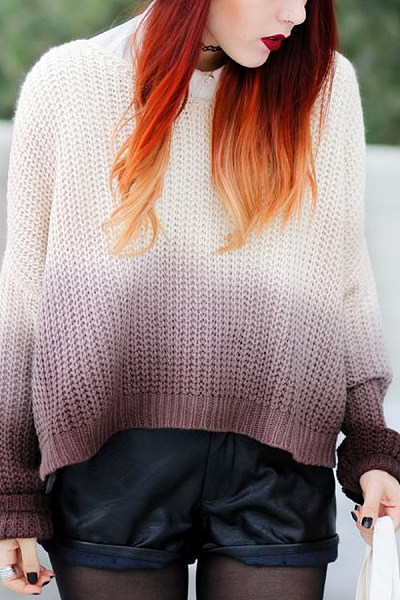 Round Neck  Gradient Sweaters