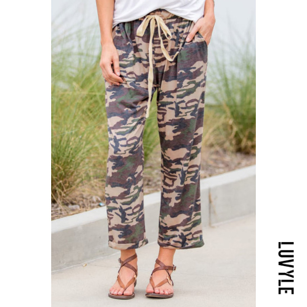 Camouflage Printed Casual Long Pants