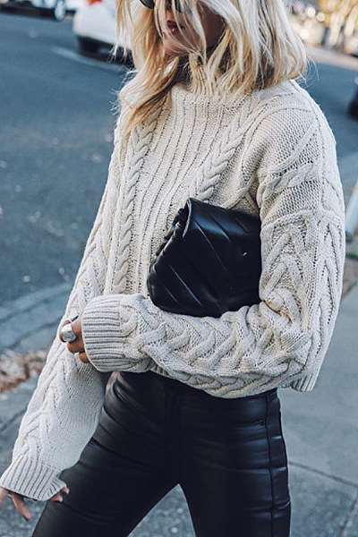 Round neck solid color fashion casual sweater