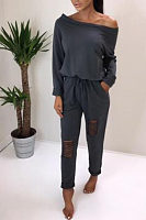Open Shoulder  Cutout Drawstring  Plain  Long Sleeve Jumpsuits